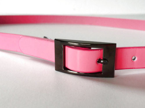 "Vince Camuto NEW 1/2"" Skinny Neon Pink Patent Faux Leather Belt - 33"" Long - Swanky Bazaar"
