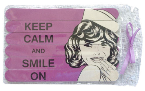 "Bella Beauty NEW ""Keep Calm and Smile On"" Package of 6 Double-Sided Nail Files - Swanky Bazaar"