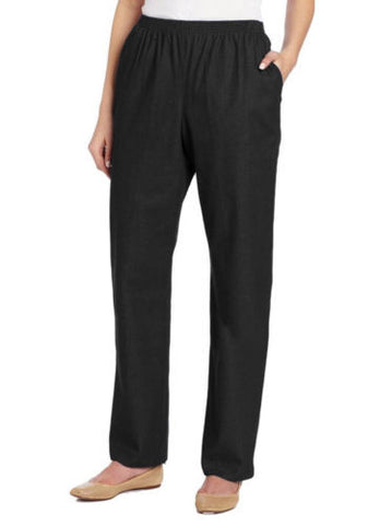 Alfred Dunner Proportioned Short Cotton Blend Classic Pants in Black - Swanky Bazaar