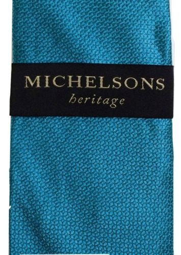 "Michelsons Heritage NEW Textured Silk Tie, 56"" Long - Teal - Swanky Bazaar"