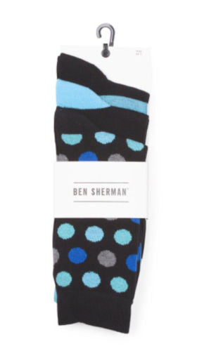 Ben Sherman NWT 3-Pack Black Combo Dots Socks Men's 10-13, Fits Shoes Sz 6-12.5 - Swanky Bazaar