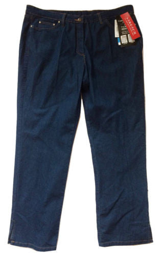 Cathy Daniels NEW Tummy Reducer LINEN Blend Stretch Jeans, Blue Notes - Size 10 - Swanky Bazaar