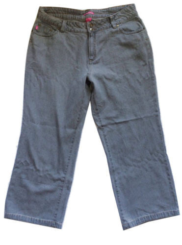 Woman Within NEW Gray Natural Fit Straight Leg Cotton Jeans, Size 18W - Swanky Bazaar