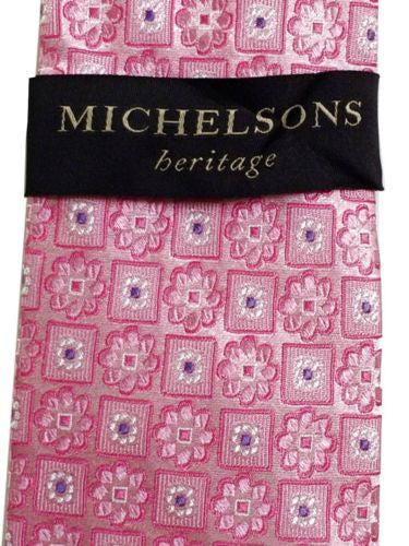 "Michelsons Heritage NEW 56"" Geometric Floral Pattern Silk Tie - Pink White Lilac - Swanky Bazaar"