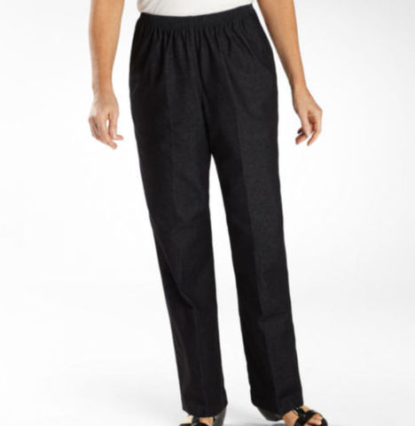 Alfred Dunner Black Denim Chambray Classic Pull-On Pants - Swanky Bazaar