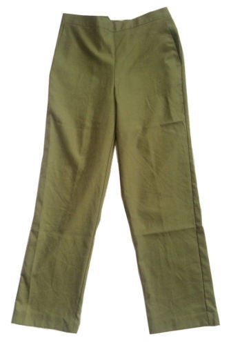 Alfred Dunner Pull-On Style Casual Pants in Olive Green - Swanky Bazaar