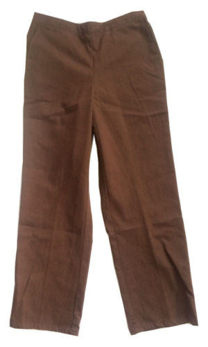 Alfred Dunner Pull-On Casual Pants in Brown - Swanky Bazaar