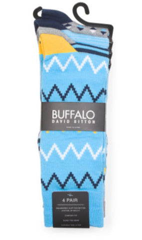 Buffalo David Bitton NWT 4-Pack Light Blue Aztec Socks Size 10-13 (6-12.5 Shoes) - Swanky Bazaar
