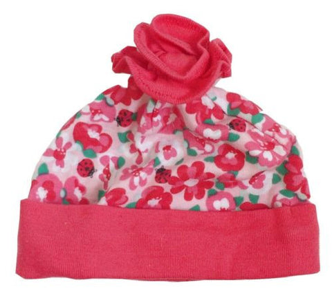 NEW The Children's Place Crisp Coral Flowers & Lady Bugs Soft Knit Layette Hat - Swanky Bazaar