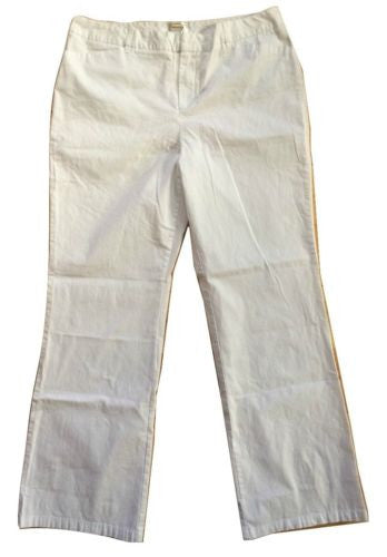 Talbots NEW White Lightweight Cotton Blend Mid-Rise Stretch Pants - Size 16 - Swanky Bazaar - 1