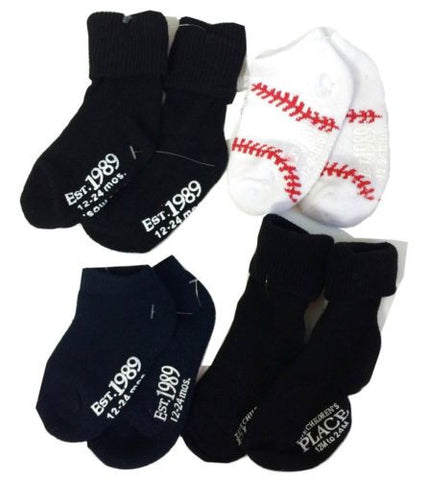 NEW Children's Place Lot of 4 Pairs Socks - Black, Blue & Baseball Sz 12M - 24M - Swanky Bazaar