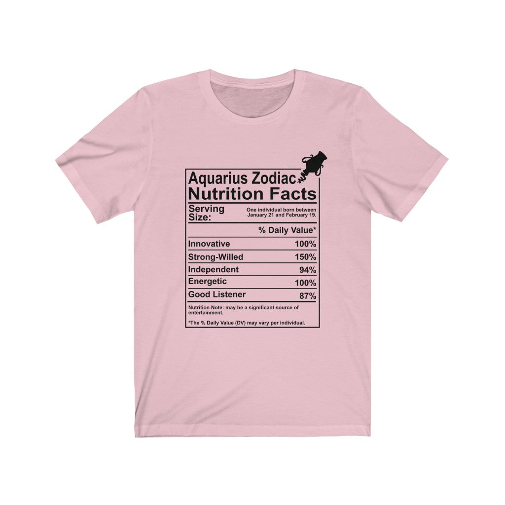 Aquarius Zodiac Nutrition Facts B+C Unisex Jersey Short Sleeve Tee