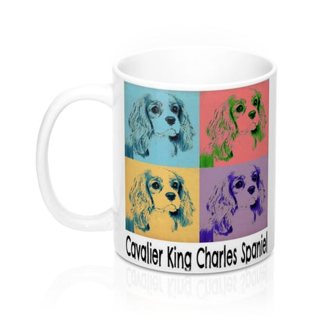 Cavalier King Charles Spaniel Puppy Dog Pop Art Pet Coffee Mug in 11 or 15 oz.