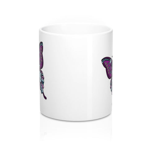 Zentangle / Stylized Purple Butterfly Novelty Art Coffee Mug in 11 or 15 oz.