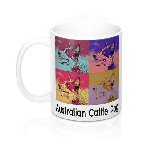 Australian Cattle Puppy Dog Pop Art Pet Coffee Mug in 11 or 15 oz.