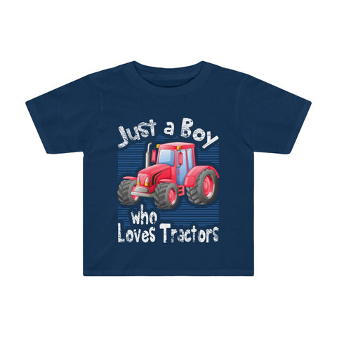 Just A Boy Who Loves Red Tractor Kids Tee