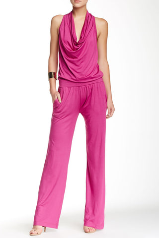 Trina Turk Raissa Sleeveless Cowl Neck Jumpsuit in Bright Plum, Size M