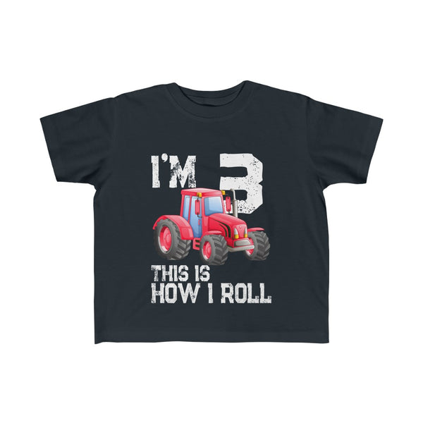 I'm 3 This Is How I Roll Red Tractor Toddler Kid's Fine Jersey Tee