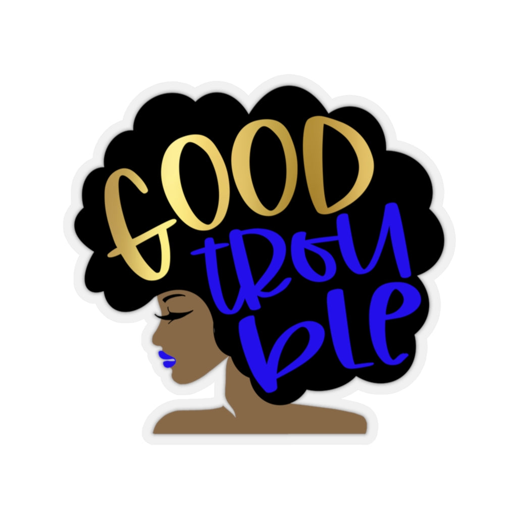 Good Trouble Sticker, John Lewis, FAUX Gold & Blue, Get in Trouble, Necessary Trouble, Black Lives Matter, Afro Woman, Afro Girl, Black Art