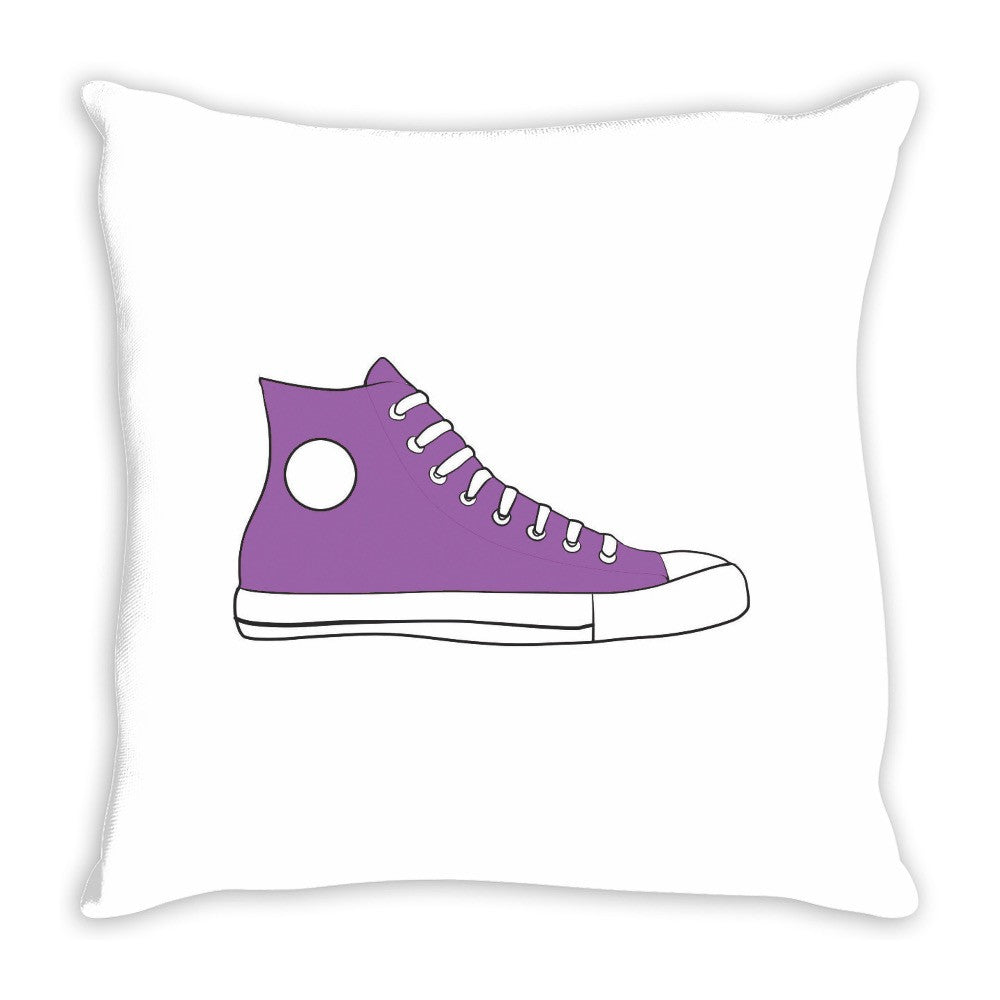 Purple High Top Sneaker Pop Art Throw Pillow 14 x 14