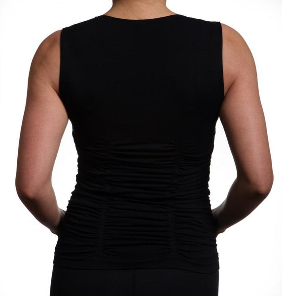 Last Tango Sleeveless Scoop Neck Ruched Tank Top in Black, Size S/M - Swanky Bazaar - 2