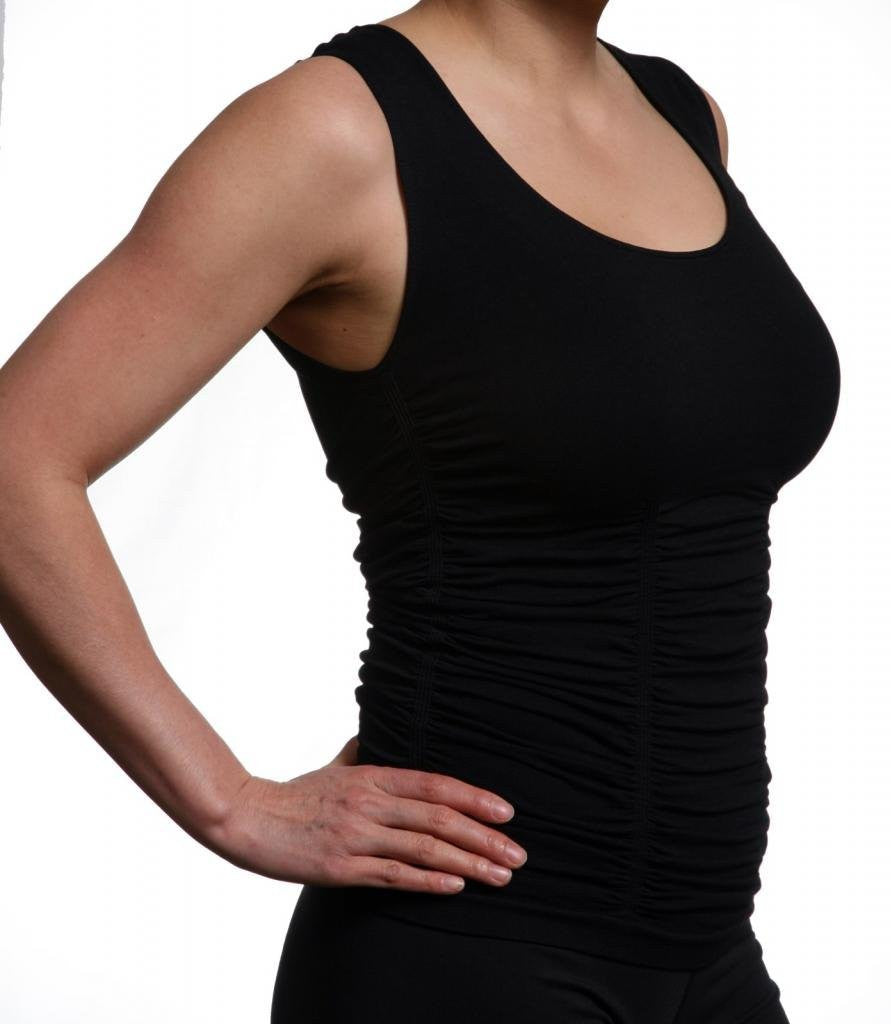Last Tango Sleeveless Scoop Neck Ruched Tank Top in Black, Size S/M - Swanky Bazaar - 1