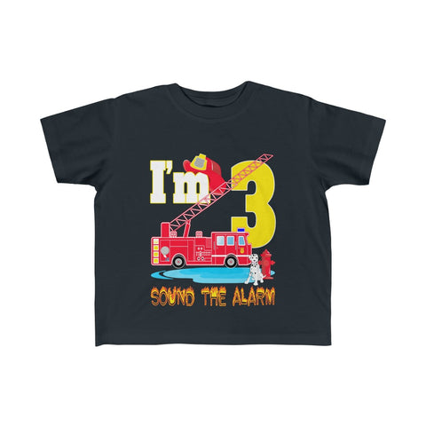 Sound The Alarm I'm 3 Fire Truck Kid's Fine Jersey Tee