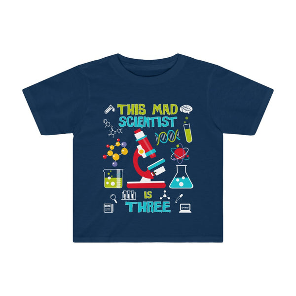This Mad Scientist is Three 3 Year Old Birthday Kids Tee