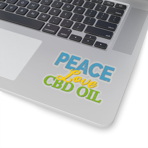 Peace Love CBD Oil Sticker, Stoner Gift, Vinyl Sticker,  Laptop Sticker, Water Bottle Sticker, Boho Sticker, Die Cut Sticker, Peace Sticker