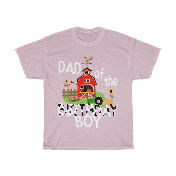Dad of the Birthday Boy Farm Green Tractor Unisex Heavy Cotton Tee