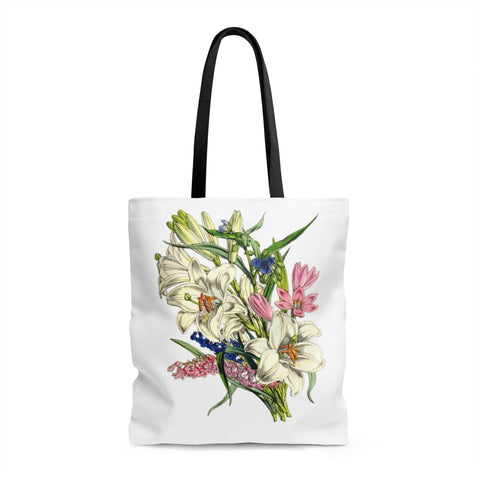 Mother's Day Flowers Tote Bag Vintage Lily Bouquet Gift