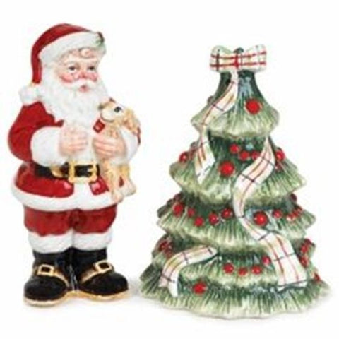 Fitz & Floyd Retired Dear Santa Christmas Handcrafted Salt & Pepper Set