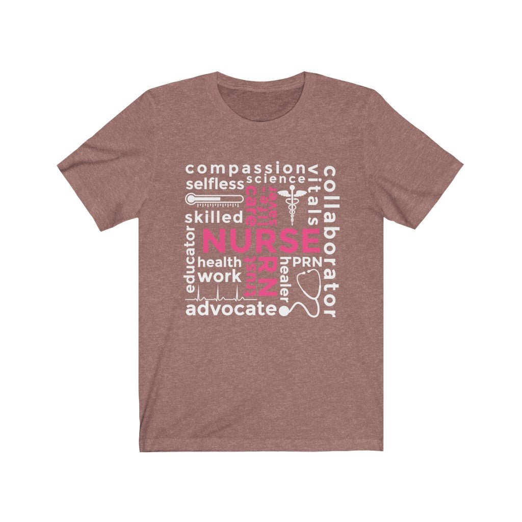 Nurse Cross Words Unisex Jersey Short Sleeve Tee