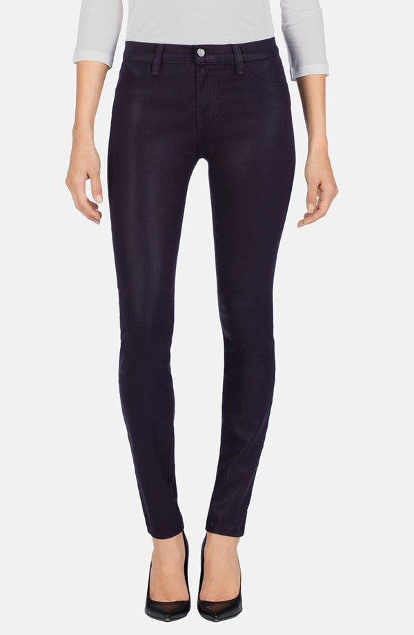 J Brand NEW 485 Coated Mid-Rise Super Skinny Jeans in Lacquered Blackberry Sz 25 - Swanky Bazaar - 1