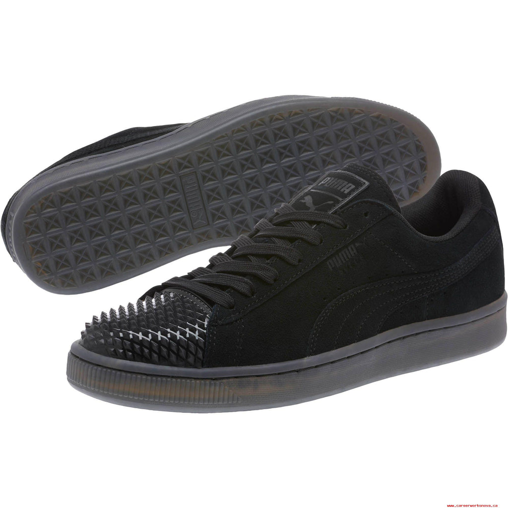 966d3d86 Puma Black Suede Jelly Studded Cap Toe Lace Up Sneaker Shoes Size 6