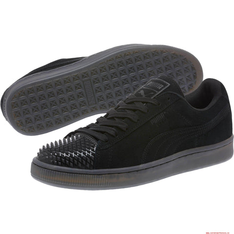 Puma Black Suede Jelly Studded Cap Toe Lace Up Sneaker Shoes Size 6