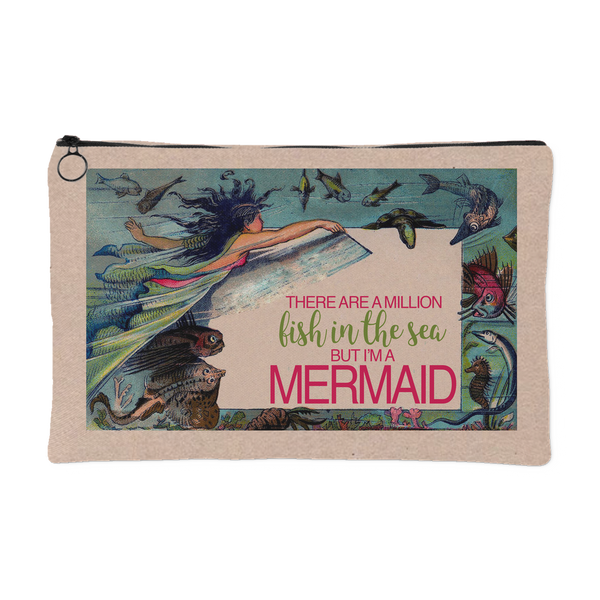 There Are A Million Fish In The Sea But I'm A Mermaid Zipper Clutch in 2 Sizes