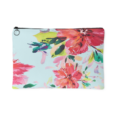 Tropical Floral Print on Blue Zipper Accessory Clutch in 2 Sizes