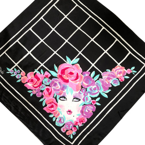 "Bob Mackie Silk Scarf Lady Face In Flowers 35"" Square Signed Wearable Art"