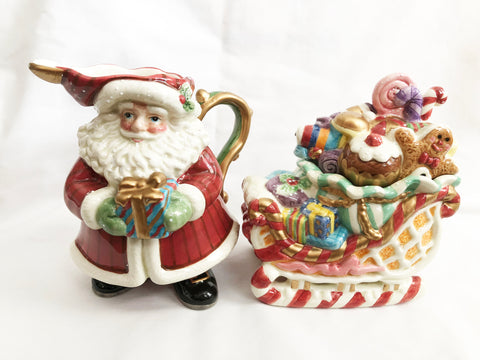 Fitz & Floyd Candy Lane Express Santa & Sleigh Christmas Sugar & Creamer Set