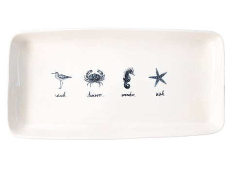 "Rae Dunn Seek Discover Wander Wish 14"" Rectangular Tray"