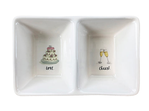 "Rae Dunn Love Cheers Wedding Cake Champagne 8""x5"" Stoneware Double Tray"