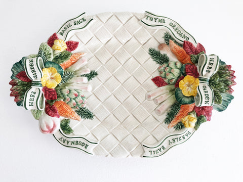 "Fitz & Floyd 17"" Oval Serving Platter Hand Painted Herb Garden Pattern"