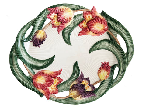 "Fitz & Floyd 16"" Oval Serving Platter Hand Painted Tulip Swan Pattern"