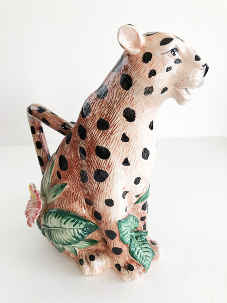 Fitz & Floyd 1 1/4 Qt / 40 oz Hand Painted Jungle Spotted Leopard Pitcher