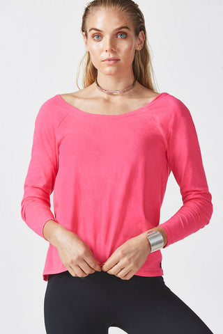 Fabletics Aviana Tee Pop Pink Long Sleeve Top Size Small
