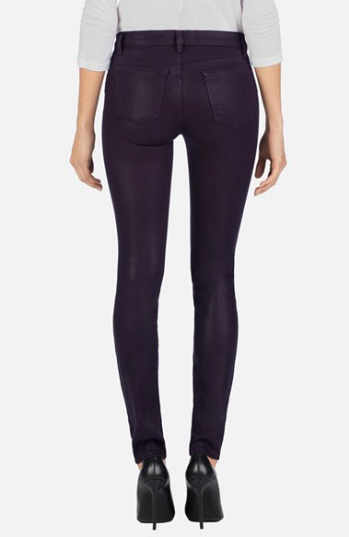 J Brand NEW 485 Coated Mid-Rise Super Skinny Jeans in Lacquered Blackberry Sz 25 - Swanky Bazaar - 2