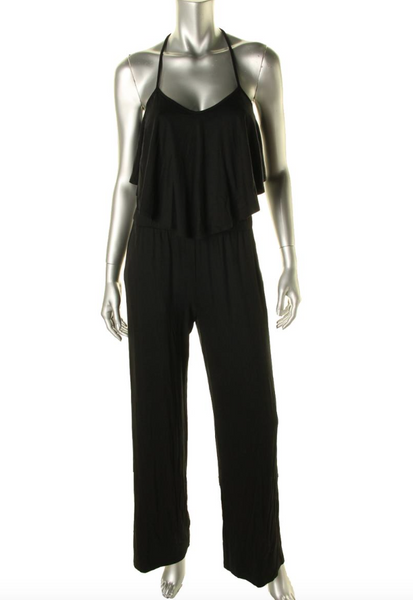 Trina Turk Black Mayra Cross Back Ruffle Front Wide Leg Jumpsuit Romper Size S