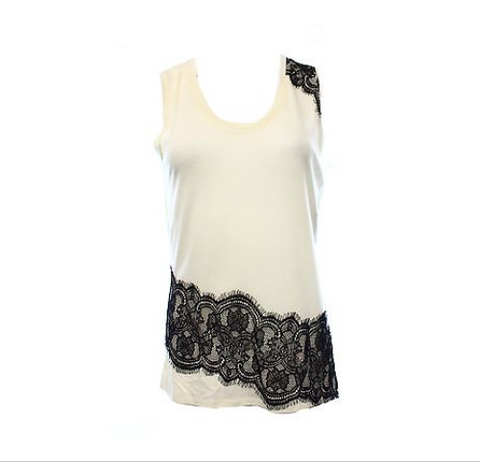 Rachel Rachel Roy Sleeveless Black Lace Trim Ivory Tank Top Size M