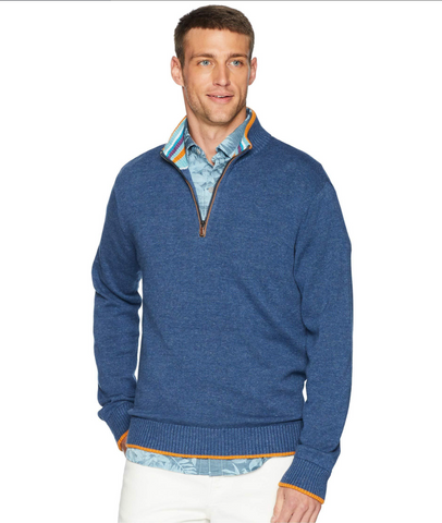 Robert Graham Men's Blue Cavalry Quarter (1/4) Zip Cotton Sweater